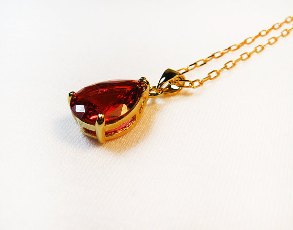 gold plated pendant necklace chain teardrop