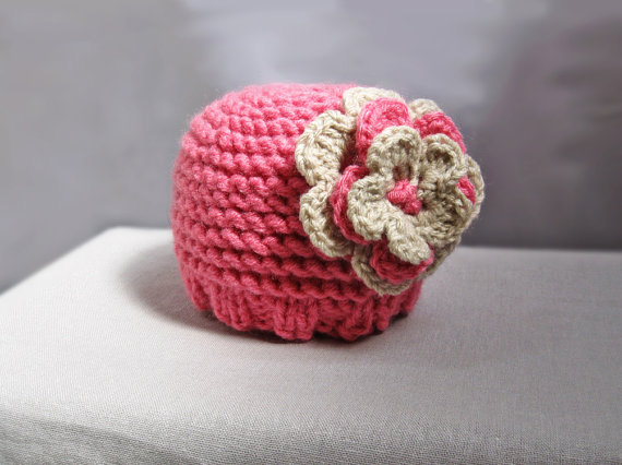 Knit baby newborn hat pink