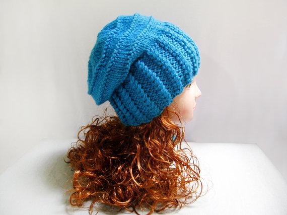Knitting pattern hand knit slouchy blue