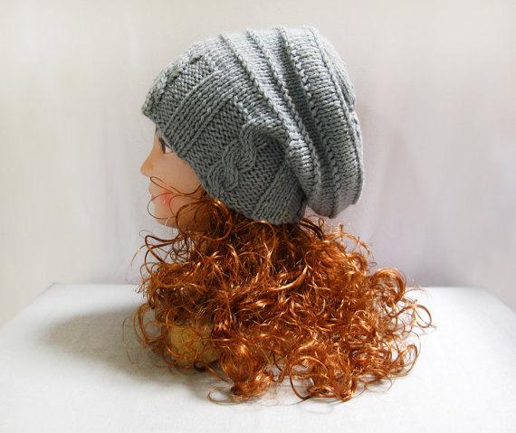 Knitting pattern hand knit slouchy gray