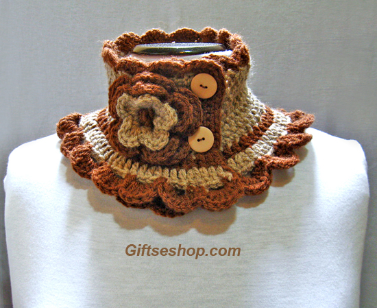 knit scarf  neck warmer beige