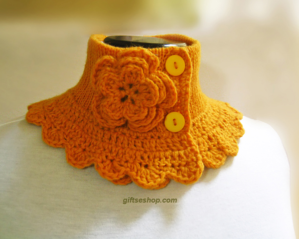 Knit wool cowl neck warmer yellow Victorian Steam punk style – Gifts ...