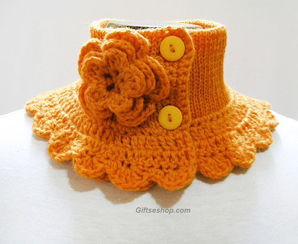 Knit cowl neck warmer yellow