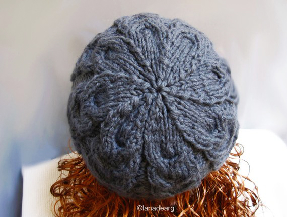 Knitted cable beanie hat pure wool unisex