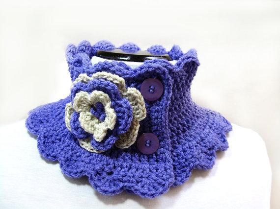 Knit Scarf Neck Warmer Collar lilac Victorian Steam punk