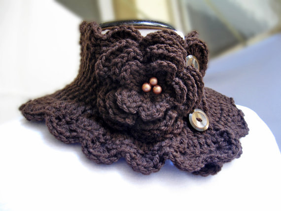 Knit Scarf Neck Warmer Collar brown Victorian Steam punk