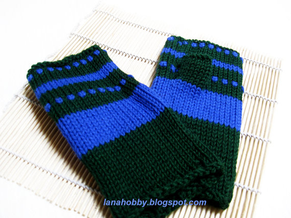 Pure wool fingerless gloves in blue green