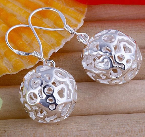 ball earrings, silver earrings, sterling silver earrings