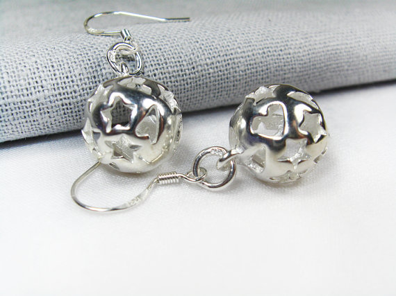 ball earrings , silver earrings, sterling silver earrings