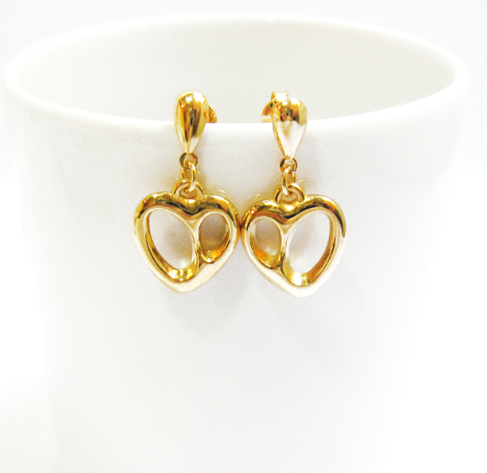gold stud earrings, heart dangle earrings, 14k gold plated