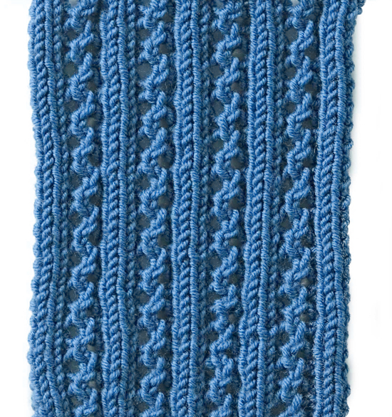 knit lace rib stitch free pattern