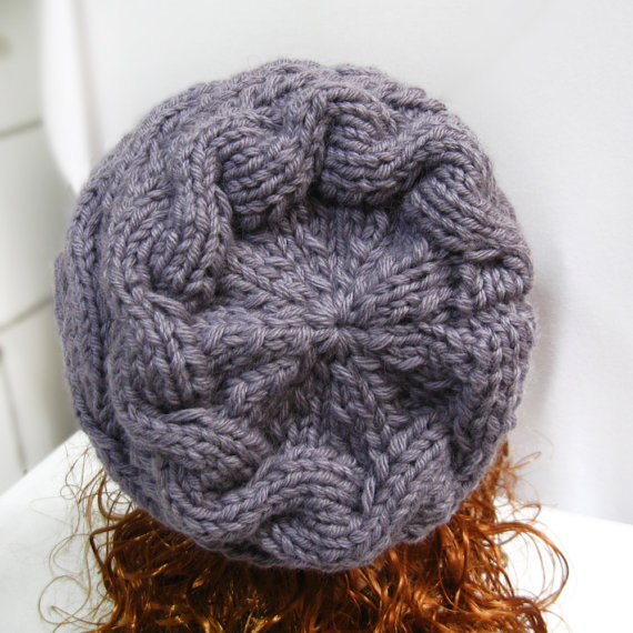 knitting pattern for gray cable hat slouchy, pdf  knit hat pattern