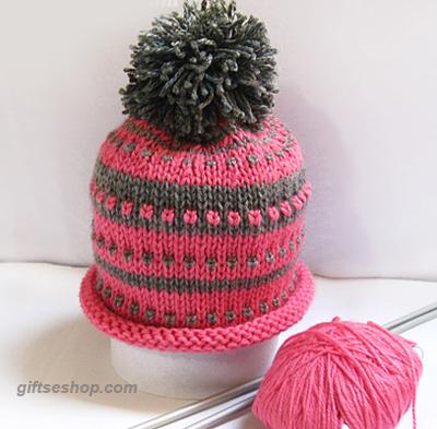 Knit Newborn Hat, Baby Girl pink Pom Pom Hat Beanie