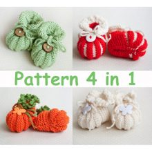 Knitting Pattern for Four Baby Booties Baby Shoes PDF