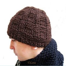 Knitting pattern hat beanie men