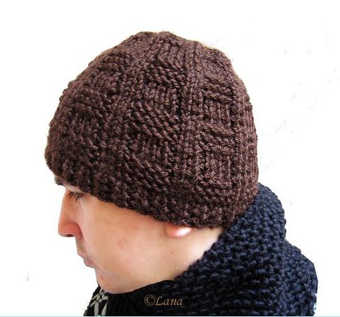 Knitting pattern hat beanie men