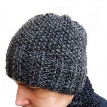 Knitting hat patterns for men women grey
