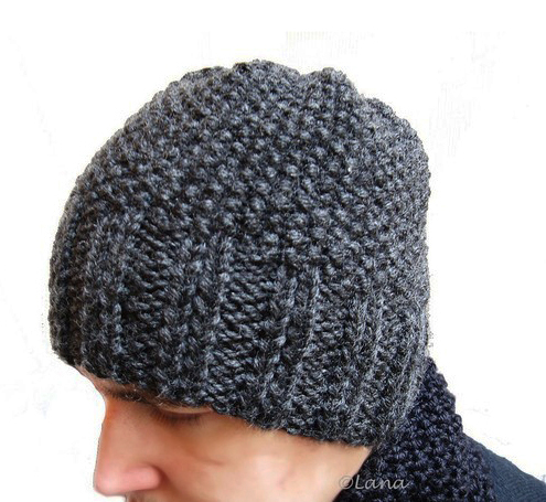 Knitting hat patterns for men women grey