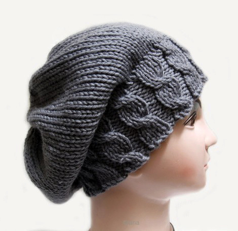 Womens Knit Hat Pattern : Knitting pattern Hat Beanie Slouchy fall for womens in PDF ...
