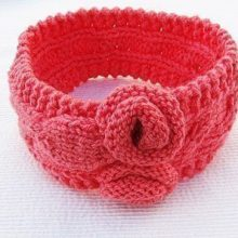 Pattern instruction knitted head band with flowers, knitted headband pattern