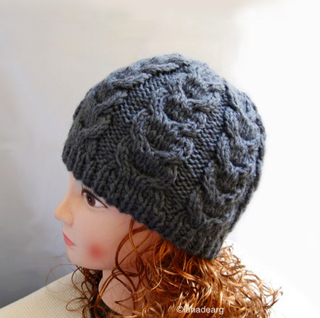 Knitting pattern hat,cable winter hat
