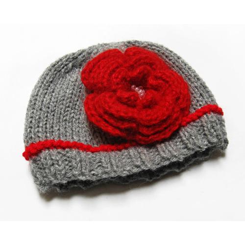 Knit Baby Newborn Hat- Baby Girl Hat with Flower