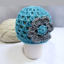 Crochet Pattern Newborn Beanie with Flower in PDF 29