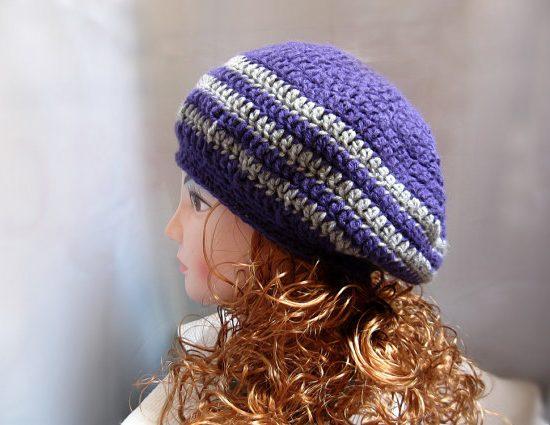Crochet Hat Pattern: Beret Slouch Pattern in PDF