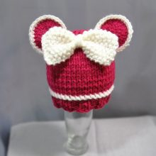 Knit Baby Hat Pink Mouse- Baby Beanie Hat with Bowl