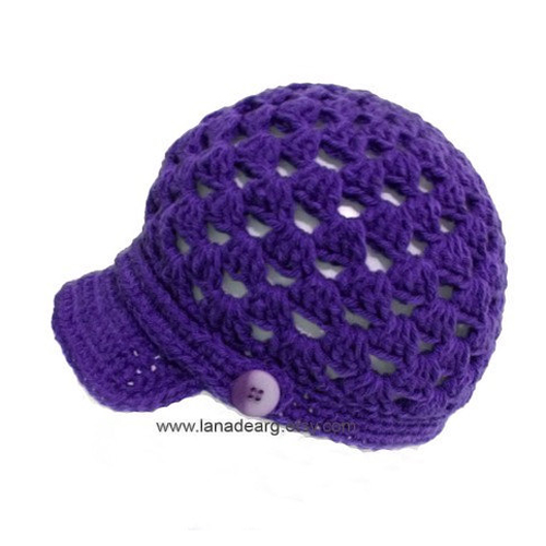 Crochet pattern baseball cap hat with visor PDF