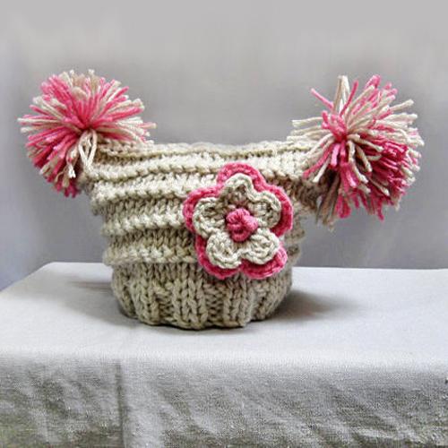 Knit Baby Hat- Newborn Hat 0-3 Months with Crocheted Flower