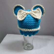 Knit Newborn Hat Blue Mouse Baby Beanie Hat