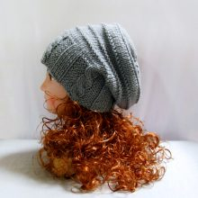 Knit pattern: hand knit slouchy hat in grey wool, winter women hat