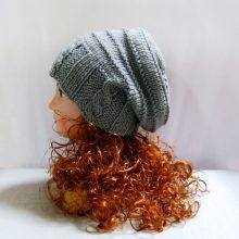 Knit pattern: hand knit slouchy hat in grey wool, winter women hat