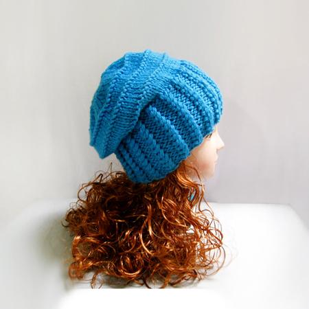 Knit pattern: hand knit slouchy hat in blue wool, winter hat, blue hat