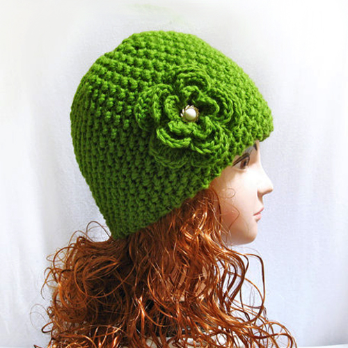 Hand Knitted Hat Patterns : Knitting pattern beanie hat hand knit with flower, pattern n 35   Gifts shop