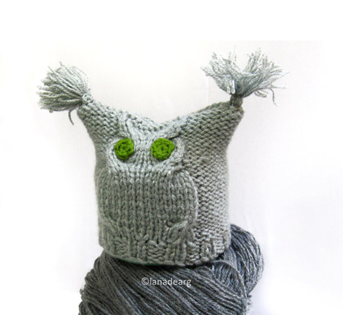 Knitting pattern for owl hat, baby newborn hat 0-3 months