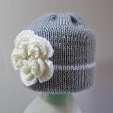 Knit baby hat, grey girl hat with flower