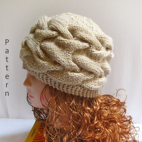 Knit Hat Patterns Straight Needles : Knit Hat Pattern- Knit Cable Hat Pdf Pattern n40   Gifts shop