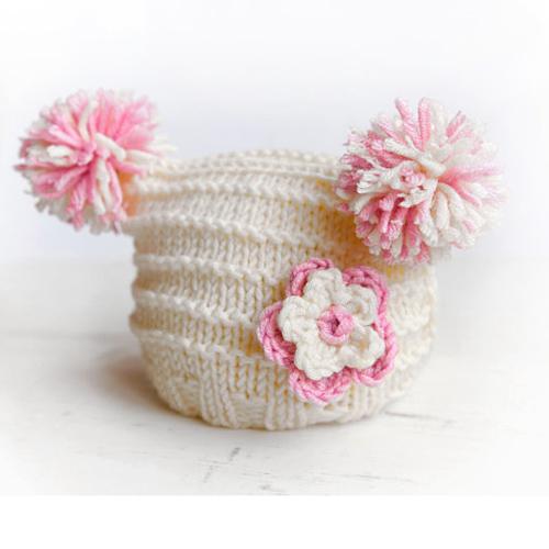 Knit Newborn Hat- Baby Hat 0-9 months-with Flower
