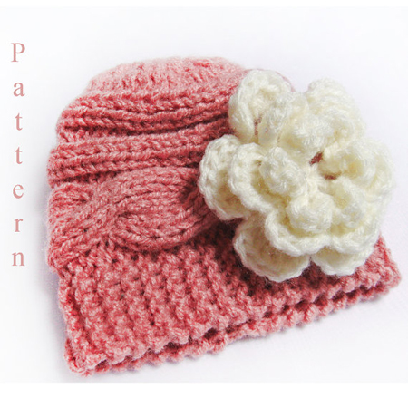 Knitting Pattern Baby Hat- Knit Newborn Cable Hat Pattern Flower