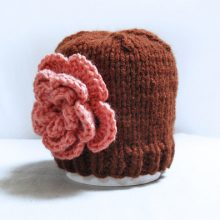 Knit baby girl hat newborn beanie brown with flower