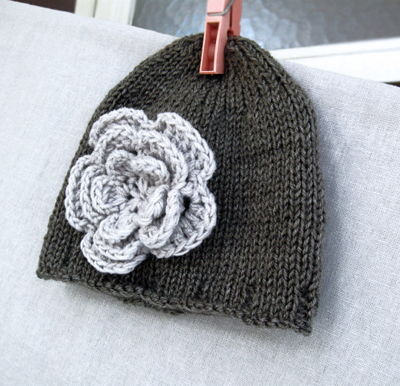 Knitted Baby Hat - Hand Knitted Beanie in gray with Flower