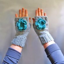 Knit Fingerless Mitts Pattern Two Needles Tutorial in PDF