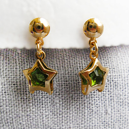 Gold Plated Earring Stud with Gold Star with Green Stone