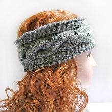 Knitted Headband, Ear Warmer Headband Gray Cable