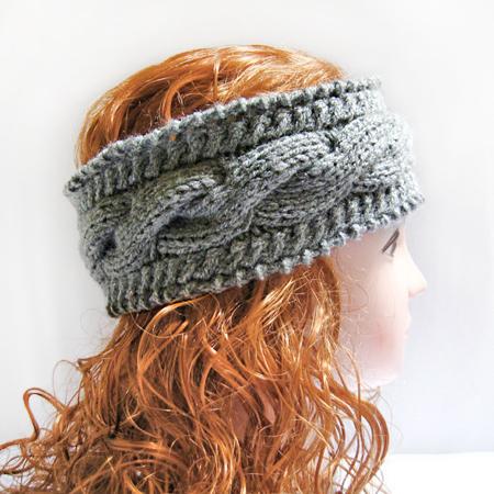 Knitted Headband, Ear Warmer Headband Gray Cable