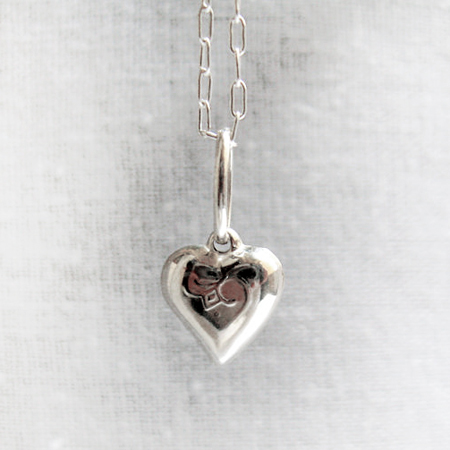 Silver Heart Pendant Necklace, I Love Necklace, Silver Puffed Heart