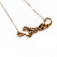 18K gold plated necklace with leopard connector