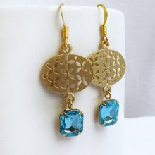 Gold Filigree Blue Cubic Zirconia Drop Dangle Earrings, Bridal Earrings, Bridesmaid Gift